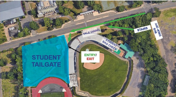 A satellite image highlighting the entrance to the student tailgate venue